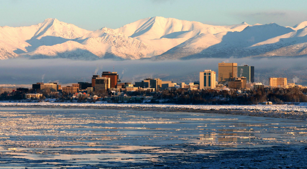 This view of Anchorage from Earthquake Park gives a feel of the  picturesque surroundings you will have at your disposal when staying at Lakeshore Inn and Suites, minutes from Prince Williams Sound.